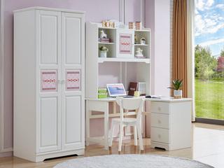 简美风格 泰国进口橡胶木 浅粉+白色二门衣柜
