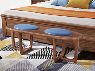 中式风格 皮艺 泰国进口橡胶木 胡桃色 9001 长条凳