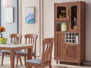 中式风格 泰国进口橡胶木 胡桃色 9001 酒柜