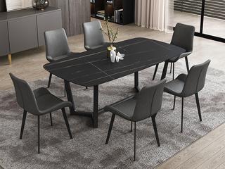 极简风格 直边圆角岩板台面 碳素金属脚 1.8米餐桌