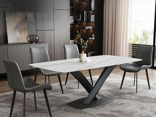 极简风格 高颜值技术岩板桌面(马肚形+圆角直边) 碳素钢框架(磨砂烤漆工艺)1.8米餐桌