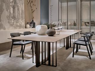 极简风格 高颜值技术岩板桌面(马肚形+圆角直边) 碳素钢框架(磨砂烤漆工艺)1.4米餐桌