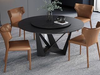 极简风格 高颜值技术岩板桌面 碳素钢框架 磨砂烤漆工艺 1.6米圆餐桌(含转盘)