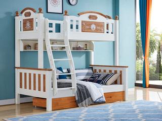 简美风格 泰国进口橡胶木 蜜桃金+白色1.2m 上下床(含书架和抽屉)