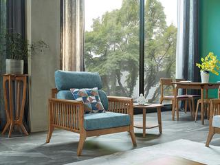 北欧风格 北美进口白蜡木 释压坐感 久坐不累 亲肤棉麻 单人沙发