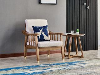北欧风格 北美进口白蜡木 抗菌透气棉麻 幸运鹿柔软抱枕 单人沙发