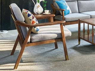 北欧风格 北美进口白蜡木 坚固实木框架 亲肤棉麻 单人沙发