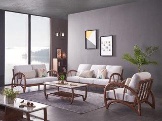 北欧风格 北美进口白蜡木 弧形工艺 稳固承载 亲肤棉麻 沙发组合(1+2+3)