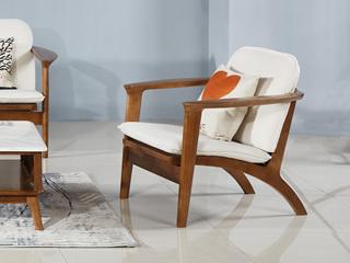 北欧风格 北美进口白蜡木 布艺软包设计 亲肤棉麻 单人沙发