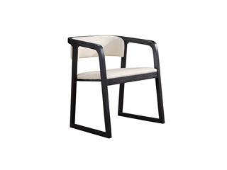 现代简约 北美进口白蜡木 西皮坐垫 双扶手餐椅