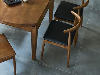 北欧风格 精选北美进口白蜡木 胡桃色 西皮坐垫 牛角椅