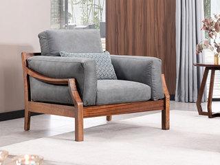 意式极简 时尚科技布 优雅胡桃木框架 强力承托弹簧 密度海绵 沙发组合(1+2+3)