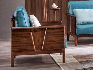 意式极简 国产真皮 优雅胡桃木框架 强力承托 密度海绵 双扶手单人位沙发