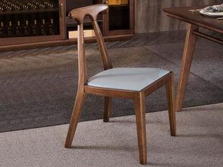 森创雅舍 意式极简 原木框架 仿皮软包餐椅