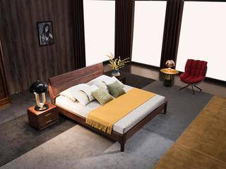 意式极简 优质胡桃木 耐磨耐腐 清晰天然木纹 1.8*2.0m床