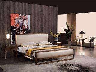 意式极简 细腻胡桃木 高床尾 优雅木纹 时尚超纤皮 1.8*2.0m床