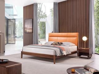 意式极简 坚固胡桃木框架 优质超纤皮 时尚橙黄软靠 1.8*2.0m床