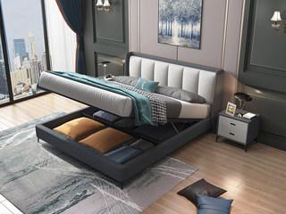 极简风格 气质深灰色 科技布靠背 承重排骨架 1.8m高箱床