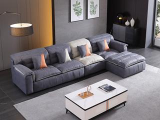 现代简约 进口樟子松坚固框架 科技布面料 羽绒+乳胶沙发  弹簧底坐 转角沙发(2+2+贵妃踏)不分方向
