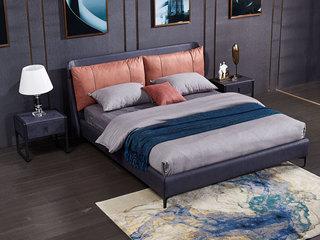 现代简约 科技布 实木框架 加固排骨架 九孔纤维绵 橙色+蓝色 1.8*2.0米床