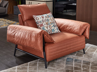 现代简约 科技布 松木底架 羽绒+高海绵 灰色 双扶手单椅