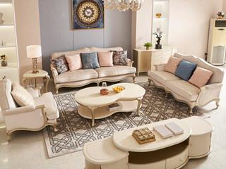 简美风格 北美进口榉木坚固框架 提花布面料 沙发组合(1+2+3)