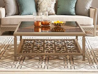 简美风格 北美进口榉木坚固框架 玻璃面板木板花纹茶几