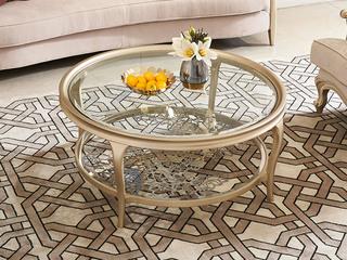 简美风格 北美进口榉木坚固框架 玻璃面板五金花纹 不锈钢茶几
