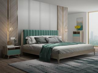 现代简约 北美进口白蜡木 松木板 布艺靠背 1.8m床