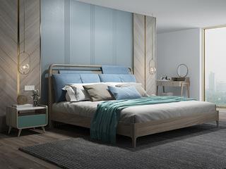 现代简约 北美进口白蜡木 松木板 稳固承重 1.8m床