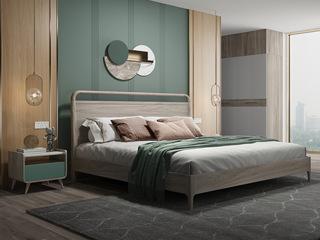 现代简约 北美进口白蜡木 松木板 1.8m双人床