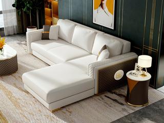 慕梵希 轻奢风格 优质头层黄牛皮  北美进口落叶松框架 D02沙发组合(3+左贵妃)