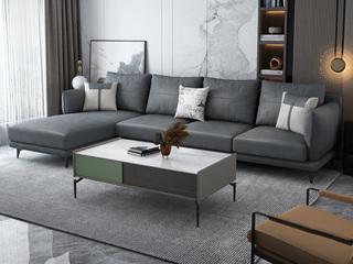 极简 科技布艺沙发 分左右方向 多色选择 坐包 靠包拆洗 框架部分不拆洗结构 五金脚拆装 深灰色 沙发组合(1+3+右贵妃)
