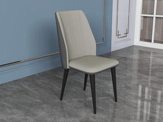 极简 西皮 黑砂碳素钢 米色 餐椅