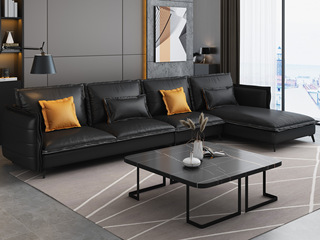 现代极简 俄罗斯落叶松坚固框架 科技布面料 乳胶座包 转角沙发组合(1+3+左贵妃)