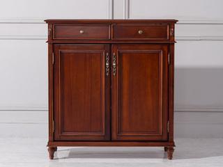 进口桃花芯木美式两门鞋柜华丽棕颜色装饰柜