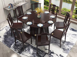 新中式 泰国进口橡胶木 黑檀色 502餐桌椅(1.3米餐桌6椅)