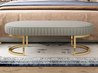 轻奢风格 皮艺 床尾凳 定制颜色 色板编号:2705色