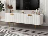 梵克美家 轻奢风格 精美条纹设计 优雅镀金支脚 梦幻白 2.0m电视柜