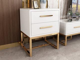 轻奢风格 镀金不锈钢 细腻光滑台面 优雅白 二斗柜
