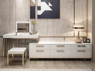 轻奢风格 镀金不锈钢 细腻光滑台面 优雅白 组合妆台+长柜