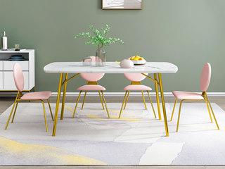 轻奢风格 中华白大理石 镀金不锈钢 简约时尚 1.2m餐桌