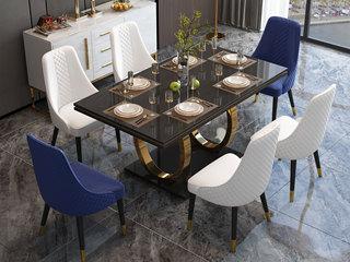 轻奢风格 钢化玻璃台面 镀金不锈钢 简约时尚 创意圆形脚架 1.4m餐桌