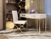 梵克美家 轻奢风格 镀金不锈钢 细腻光滑台面 优雅白 1.4m书桌