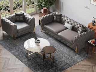 轻奢风格  进口落叶松  头层真皮 YS602单人位 仅双扶手单人沙发(抱枕随机发货)
