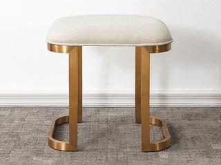 轻奢风格 白杨木 锣线工艺 大宝油漆 圆角梳妆凳
