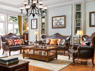美式古典 典雅舒适 进口油蜡皮 进口橡胶木 高弹海绵 人性化设计美式艺术经典仿古铜钉沙发套装(1+2+3)