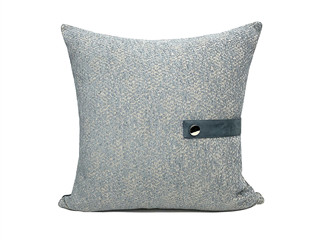 轻奢 肌理布+皮革 灰色 花纹 抱枕