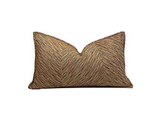 轻奢 肌理布 黄棕色 花纹 腰枕