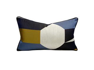 轻奢 肌理布 蓝色、黄色、黑色、米色 花纹 腰枕
